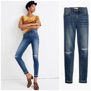 MADEWELL 9 Inch High Rise Skinny Frayed Hem Jeans
